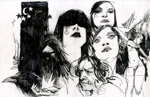 Page Of Drawings - Featuring Death From Sandman Comic Art
