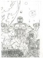 original Pencil COVER art - GIANT ROBOT battle !!! Comic Art