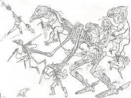Shaolin Cowboy vs. Skeletons And Babies Comic Art