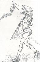 Shaolin Cowboy vs. Skull Headed School Girl Comic Art