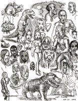 z-  sketches in ink - dino Comic Art