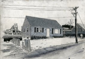 Painting of House and Industrial Buildings Comic Art