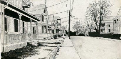 Row of Houses Comic Art
