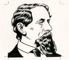 z-Charles Dickens - The Believer Cover Portrait Comic Art