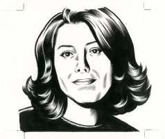 x- Marjane Satrapi - The Believer Cover Portrait Comic Art