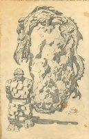 The Thing and a Lizard Creature - Pencil drawing Comic Art